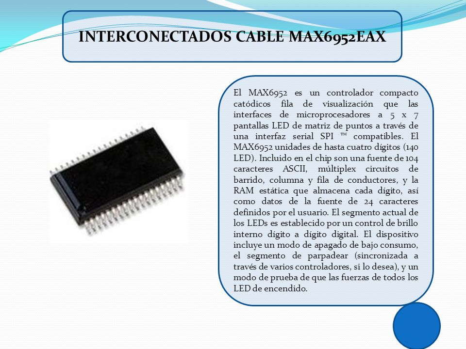 INTERCONECTADOS CABLE MAX6952EAX