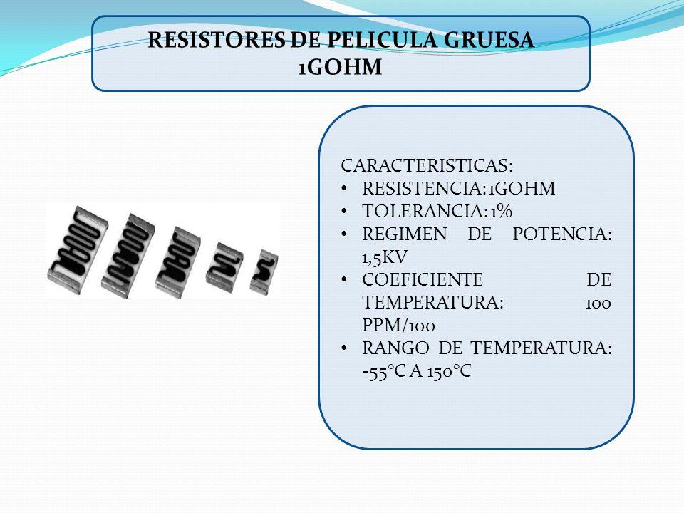 RESISTORES DE PELICULA GRUESA 1GOHM