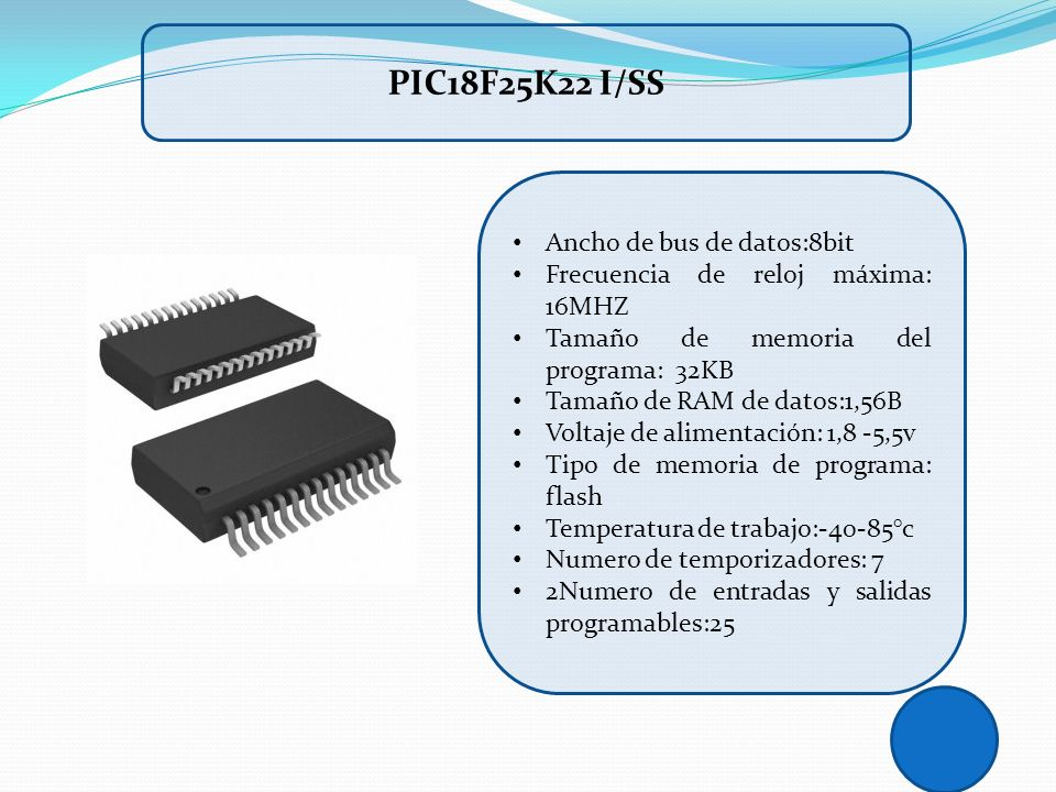 PIC18F25K22 I/SS Ancho de bus de datos:8bit