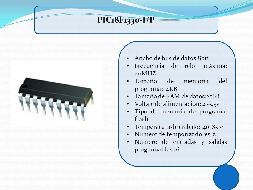 PIC18F1330-I/P Ancho de bus de datos:8bit