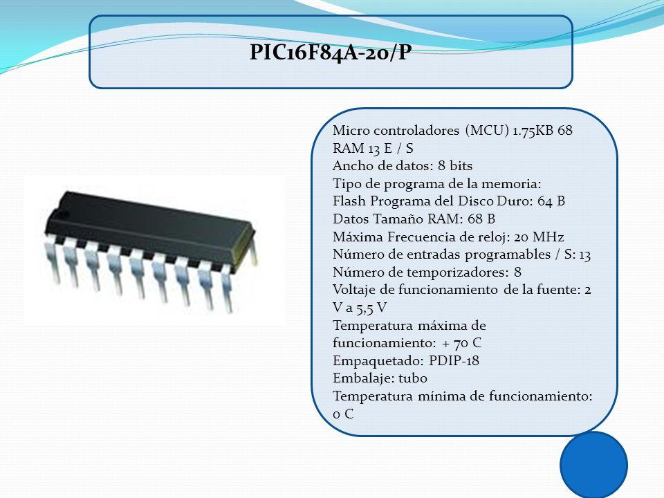 PIC16F84A-20/P Micro controladores (MCU) 1.75KB 68 RAM 13 E / S