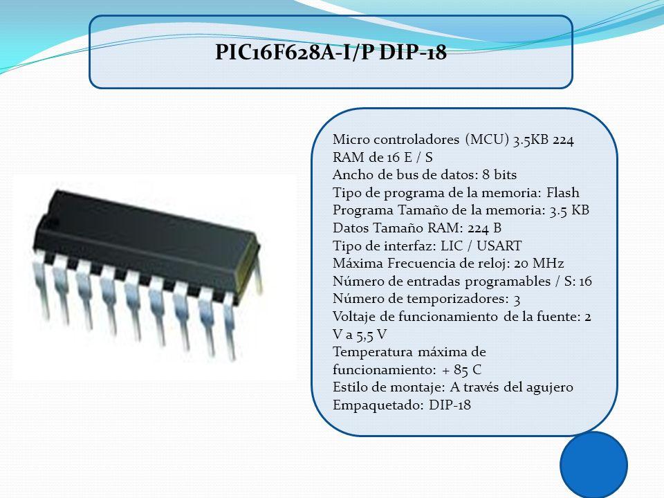 PIC16F628A-I/P DIP-18 Micro controladores (MCU) 3.5KB 224 RAM de 16 E / S.