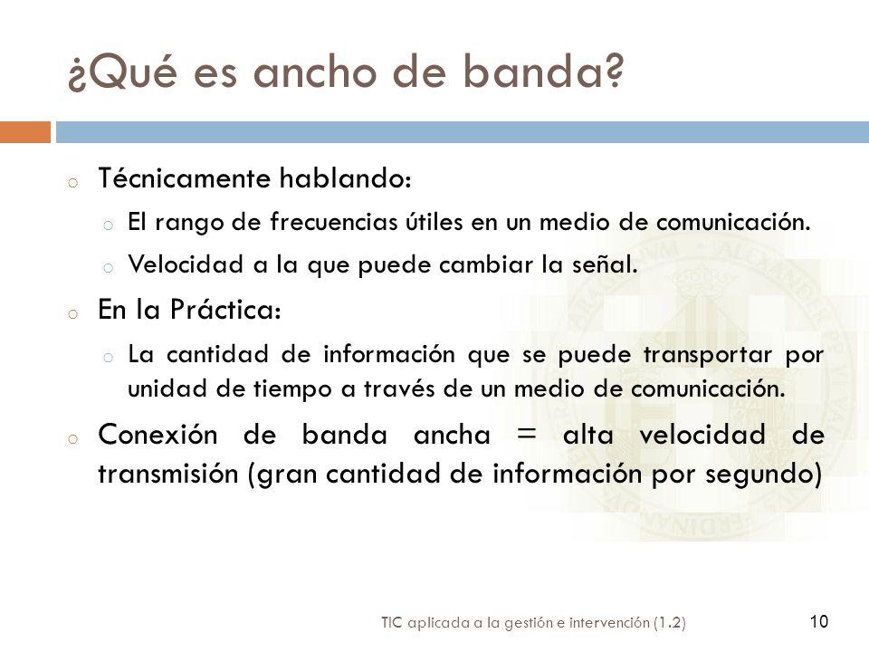 ¿Qué es ancho de banda Técnicamente hablando: En la Práctica: