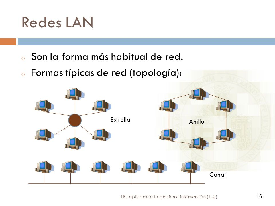 Redes LAN Son la forma más habitual de red.