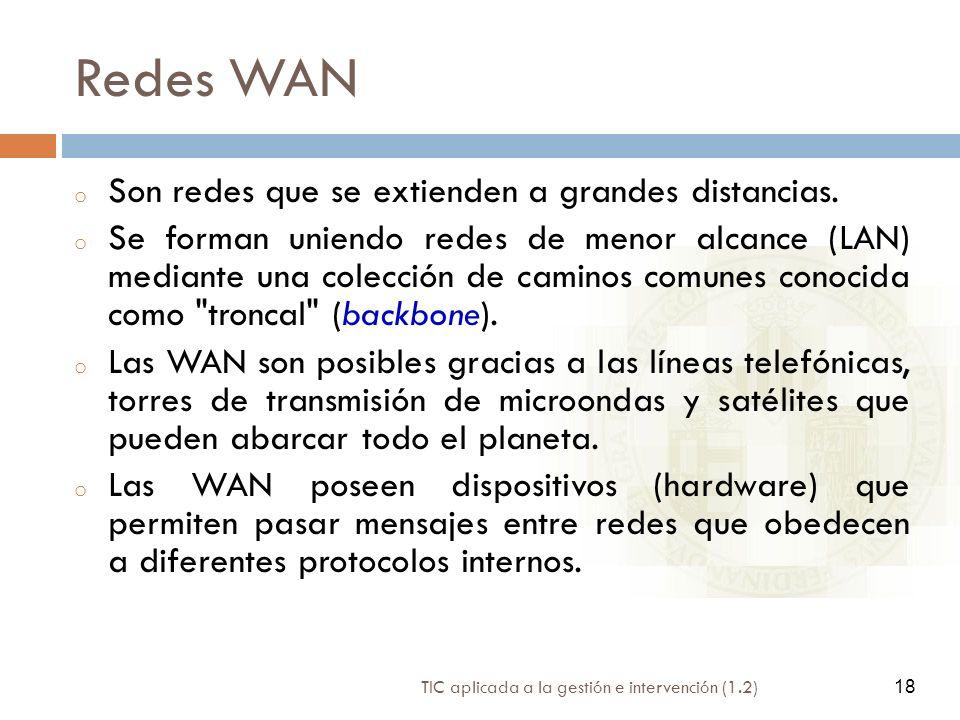Redes WAN Son redes que se extienden a grandes distancias.