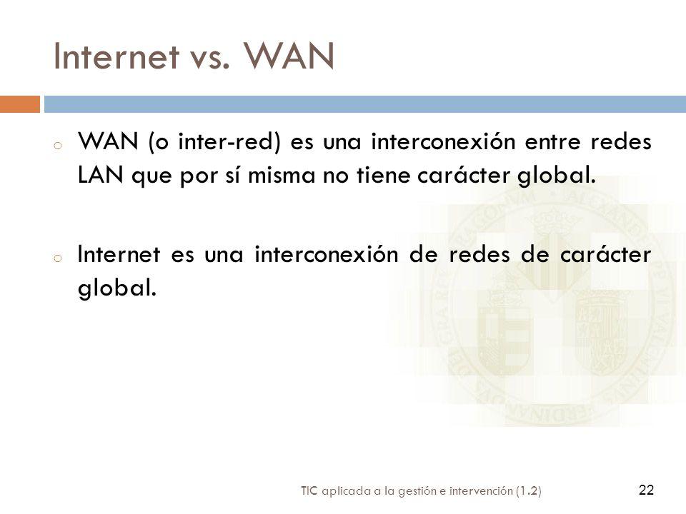 Internet vs. WAN WAN (o inter-red) es una interconexión entre redes LAN que por sí misma no tiene carácter global.