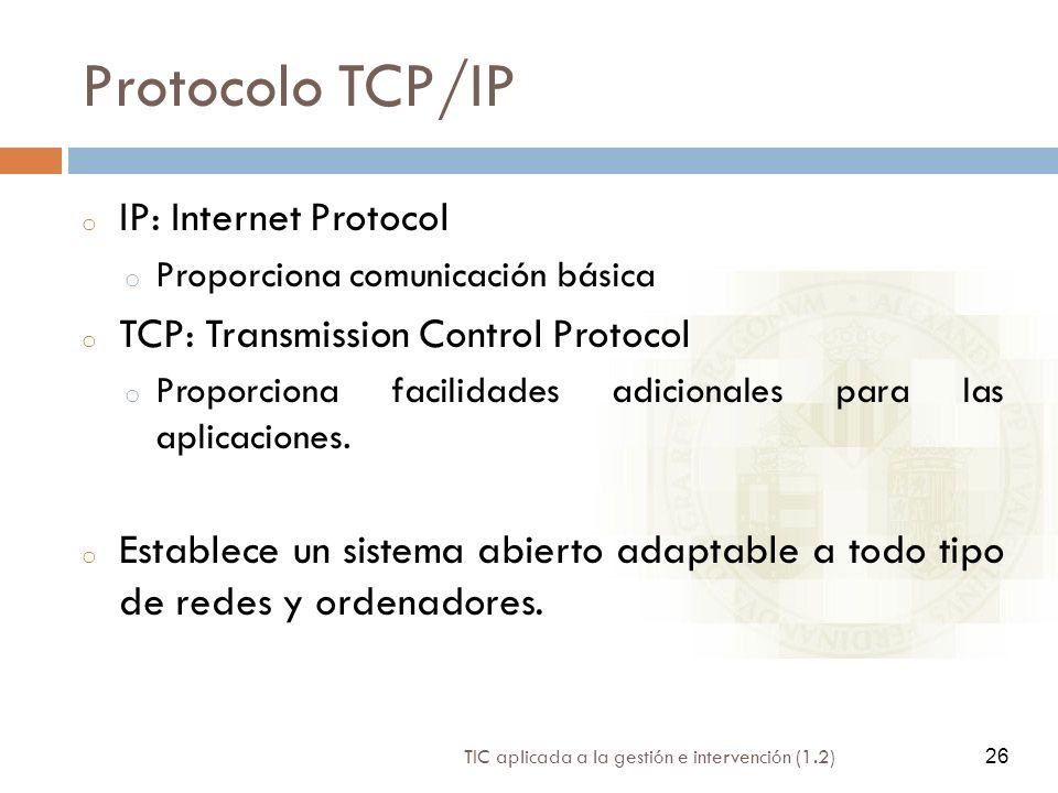Protocolo TCP/IP IP: Internet Protocol