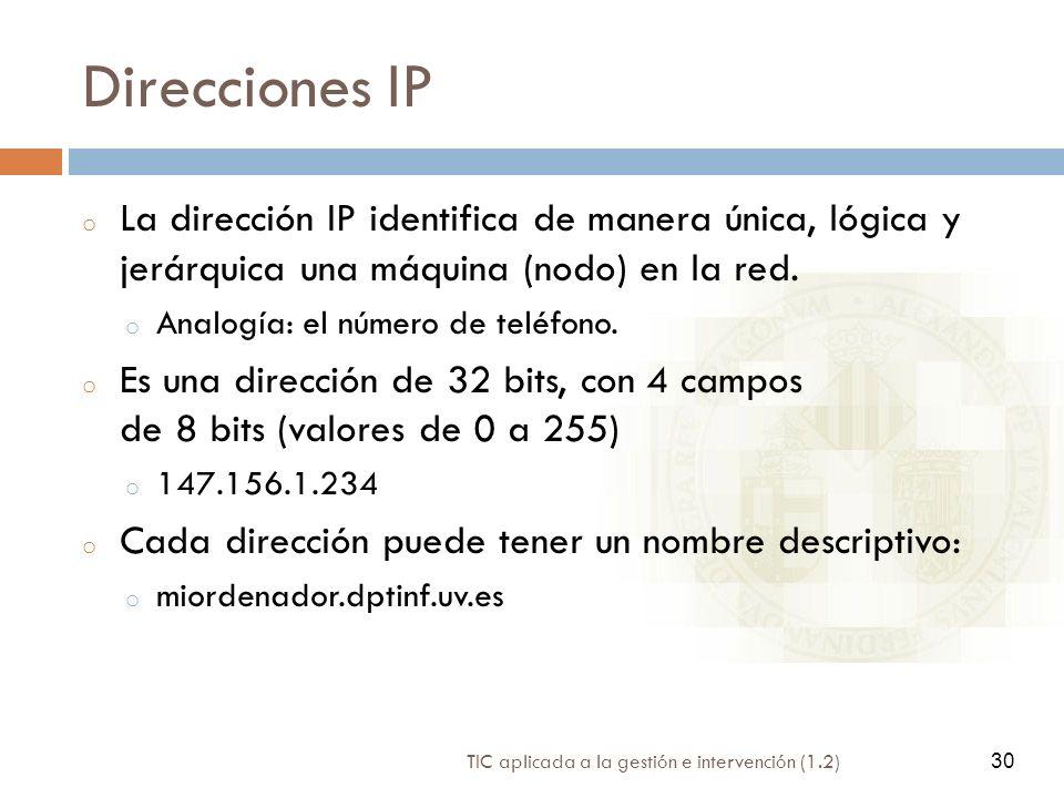 Direcciones IP La dirección IP identifica de manera única, lógica y jerárquica una máquina (nodo) en la red.