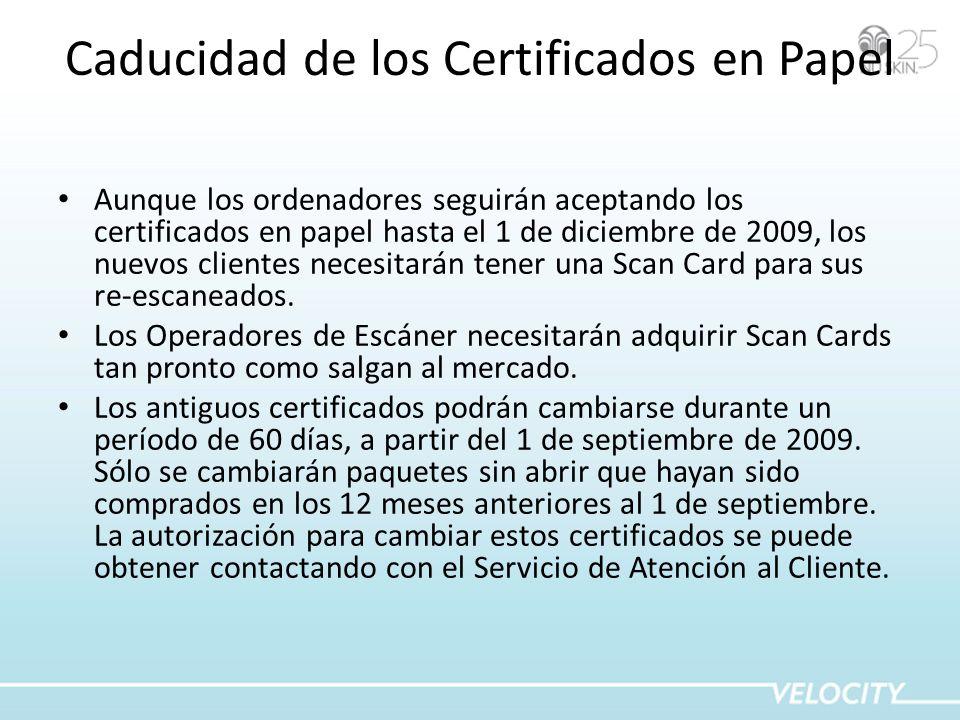 Caducidad de los Certificados en Papel