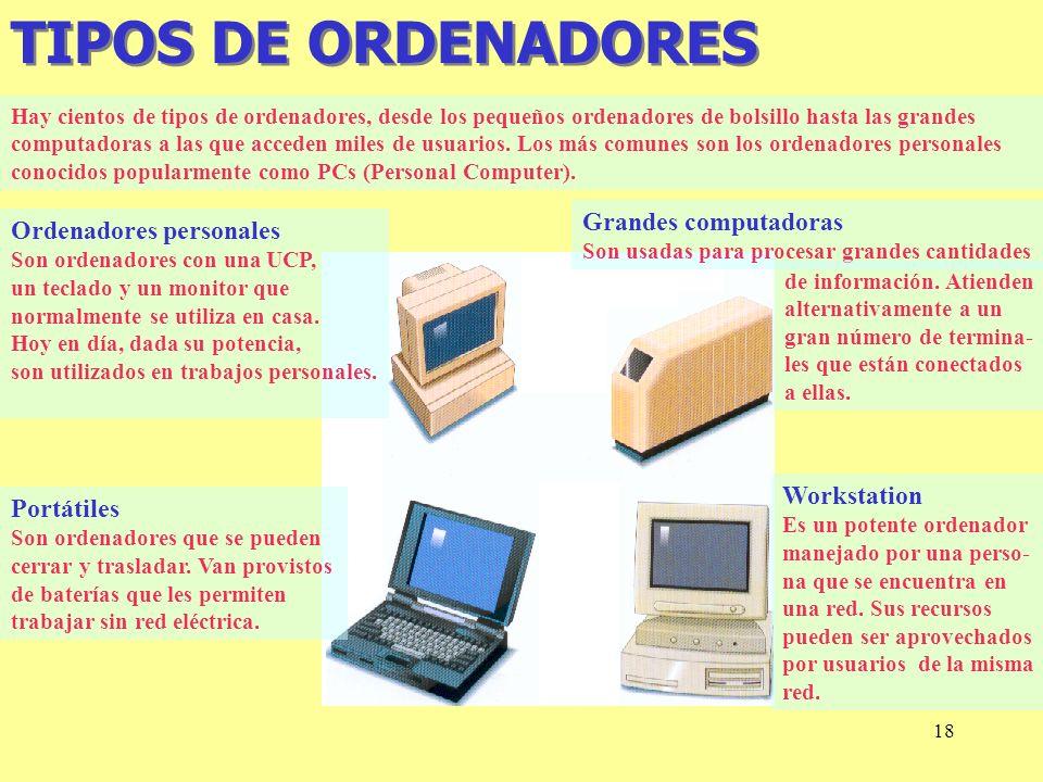 TIPOS DE ORDENADORES Grandes computadoras Ordenadores personales