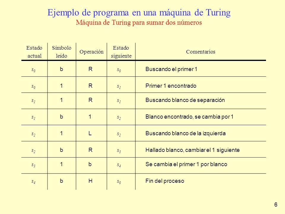 Ejemplo de programa en una máquina de Turing