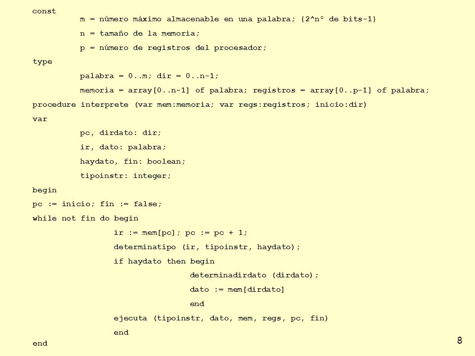 m = número máximo almacenable en una palabra; {2^nº de bits-1}