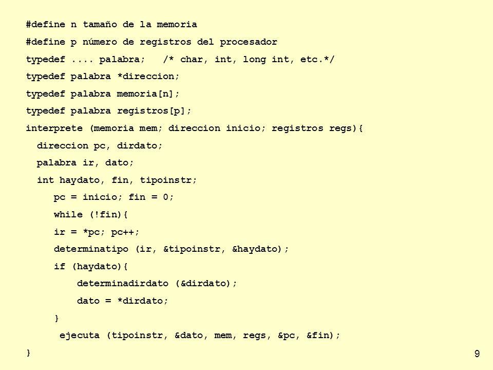 #define n tamaño de la memoria