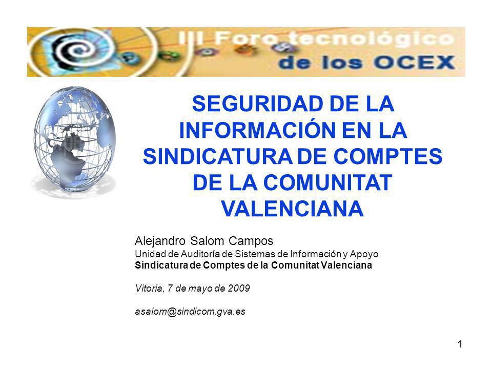 SEGURIDAD DE LA INFORMACIÓN EN LA SINDICATURA DE COMPTES DE LA COMUNITAT VALENCIANA
