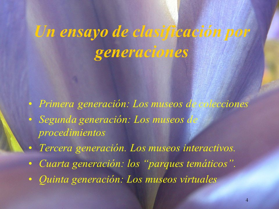 Un ensayo de clasificación por generaciones