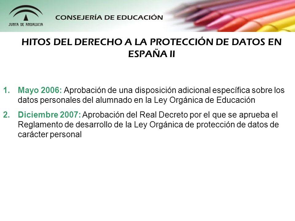 HITOS DEL DERECHO A LA PROTECCIÓN DE DATOS EN ESPAÑA II