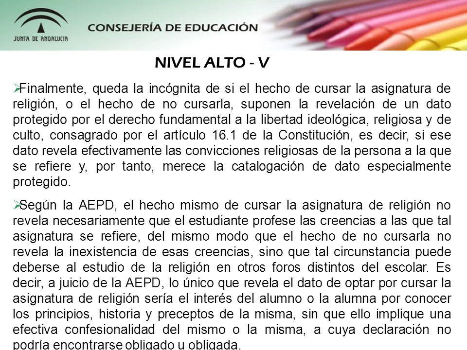 NIVEL ALTO - V
