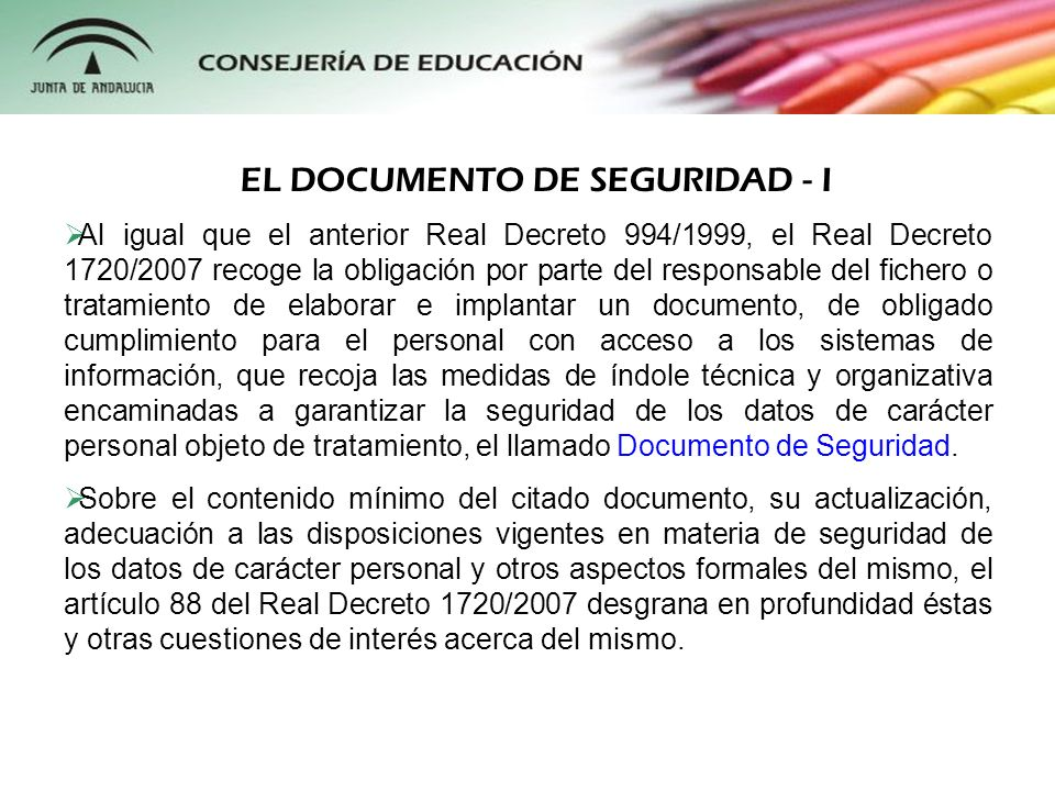 EL DOCUMENTO DE SEGURIDAD - I