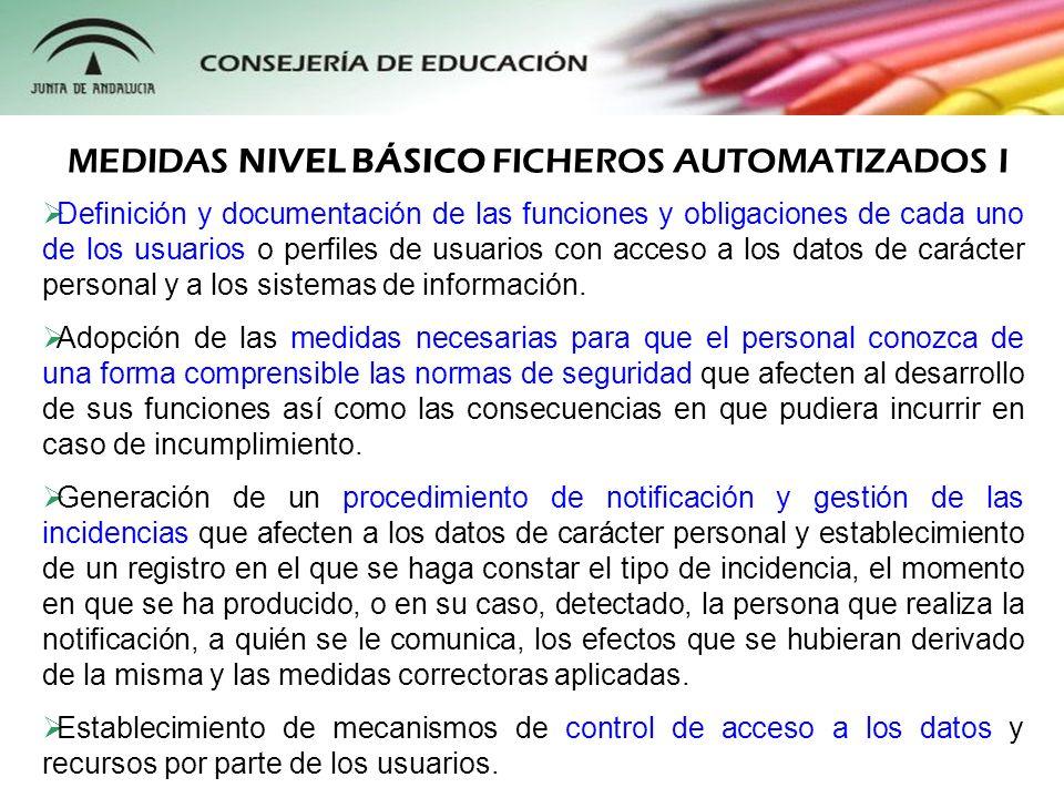 MEDIDAS NIVEL BÁSICO FICHEROS AUTOMATIZADOS I