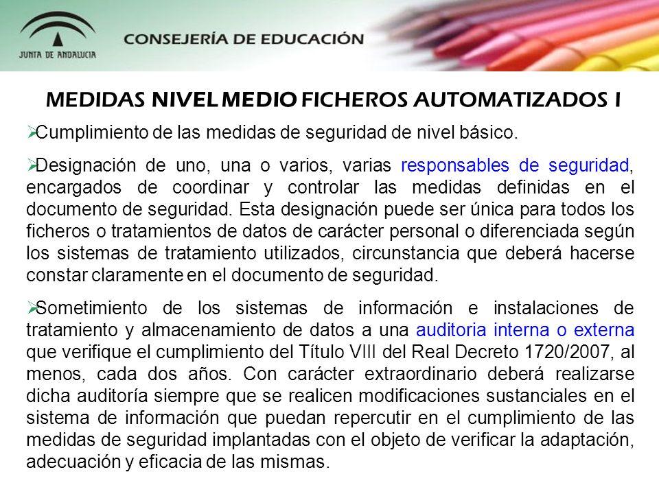 MEDIDAS NIVEL MEDIO FICHEROS AUTOMATIZADOS I