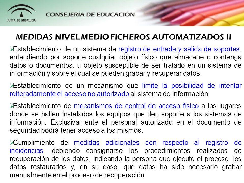 MEDIDAS NIVEL MEDIO FICHEROS AUTOMATIZADOS II
