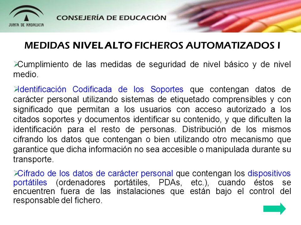 MEDIDAS NIVEL ALTO FICHEROS AUTOMATIZADOS I