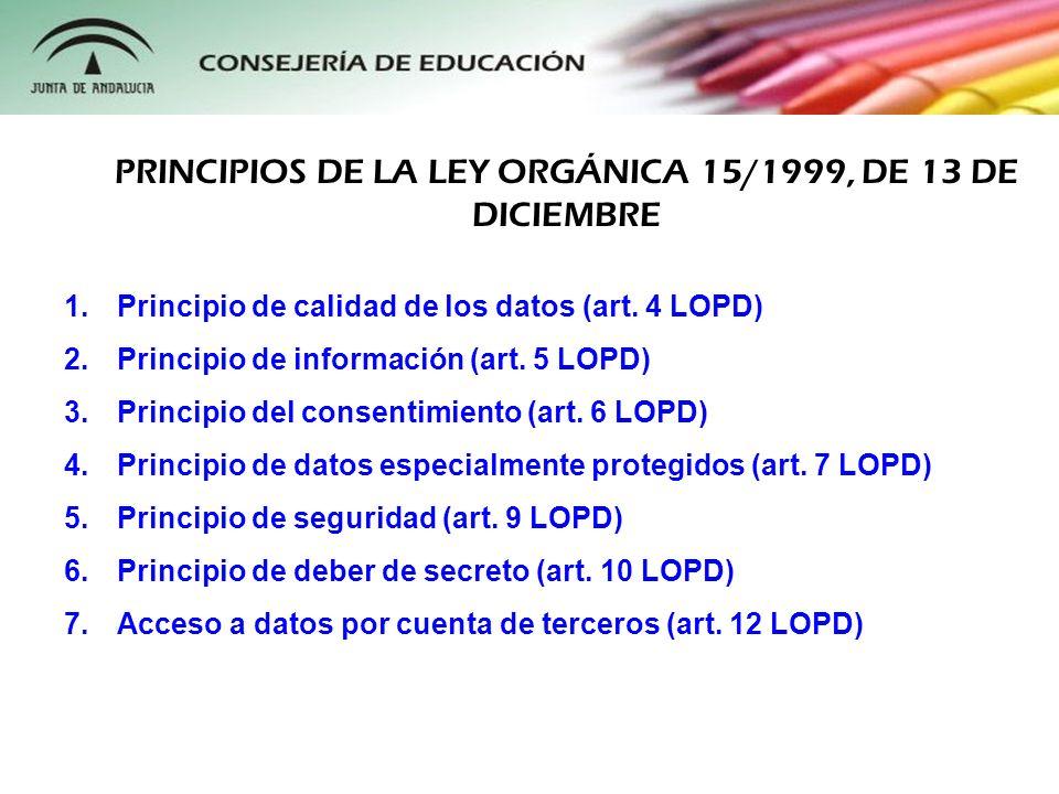 PRINCIPIOS DE LA LEY ORGÁNICA 15/1999, DE 13 DE DICIEMBRE