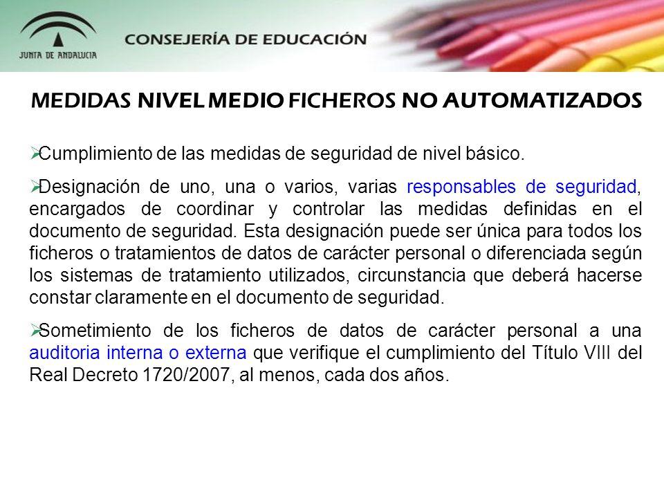 MEDIDAS NIVEL MEDIO FICHEROS NO AUTOMATIZADOS