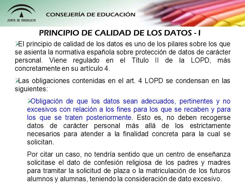 PRINCIPIO DE CALIDAD DE LOS DATOS - I