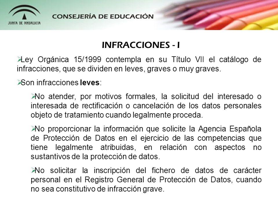INFRACCIONES - I Ley Orgánica 15/1999 contempla en su Título VII el catálogo de infracciones, que se dividen en leves, graves o muy graves.