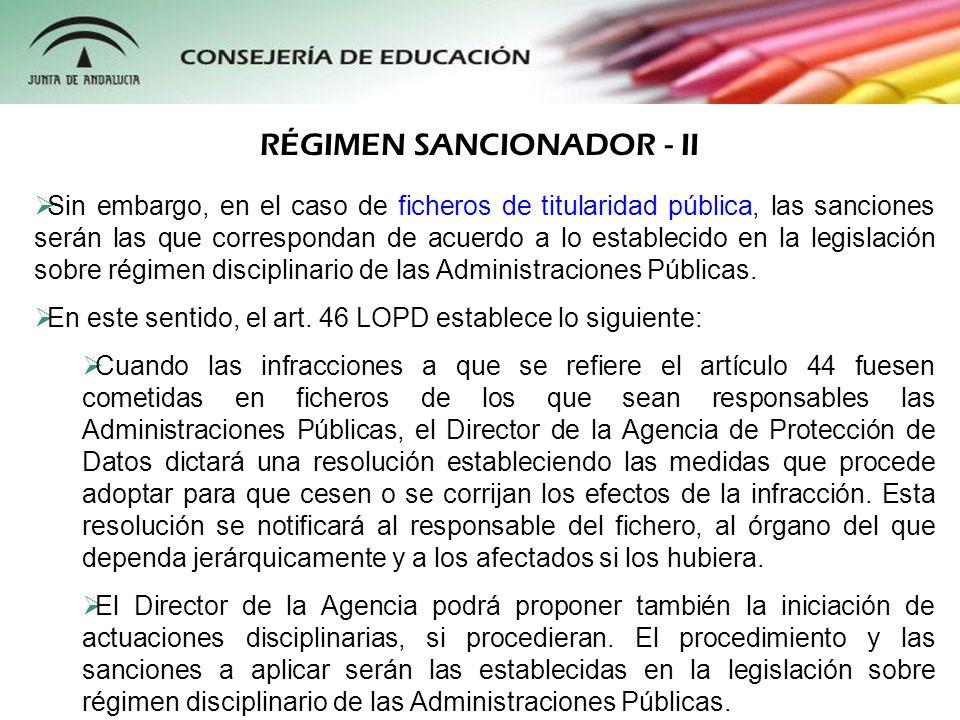 RÉGIMEN SANCIONADOR - II