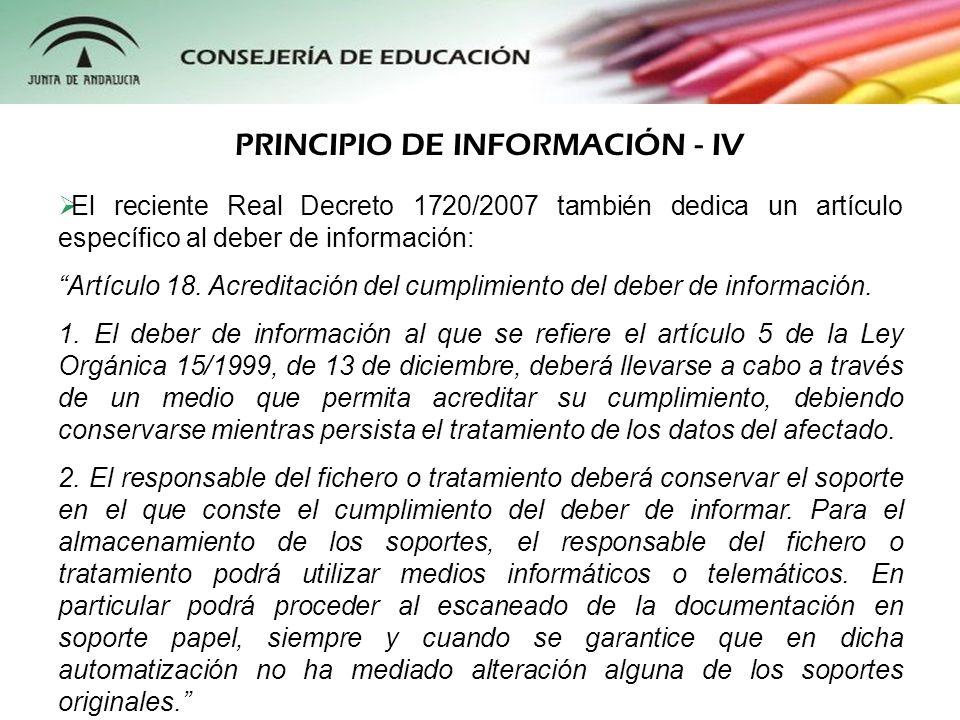 PRINCIPIO DE INFORMACIÓN - IV