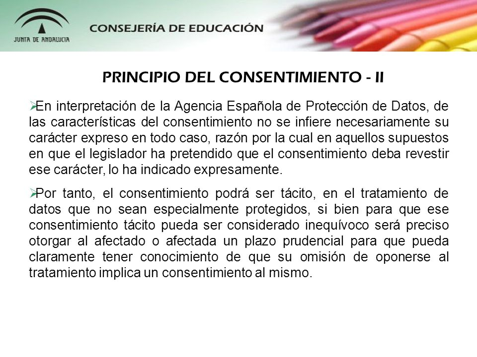 PRINCIPIO DEL CONSENTIMIENTO - II