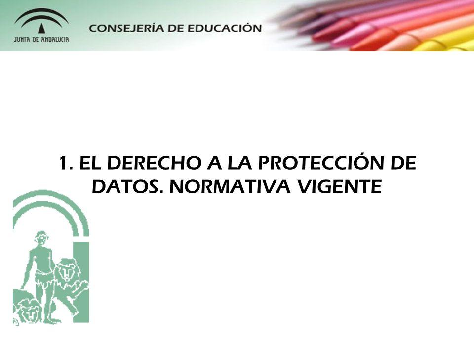 1. EL DERECHO A LA PROTECCIÓN DE DATOS. NORMATIVA VIGENTE