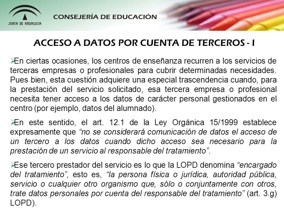 ACCESO A DATOS POR CUENTA DE TERCEROS - I