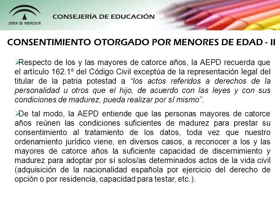 CONSENTIMIENTO OTORGADO POR MENORES DE EDAD - II
