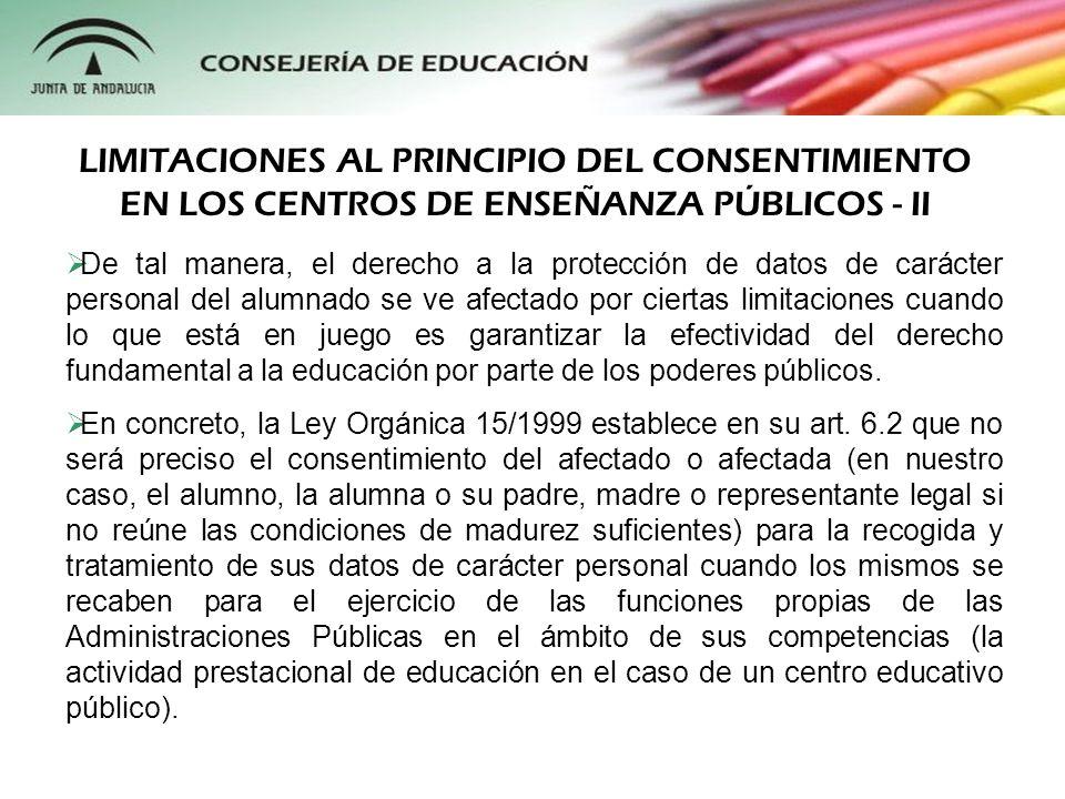 LIMITACIONES AL PRINCIPIO DEL CONSENTIMIENTO EN LOS CENTROS DE ENSEÑANZA PÚBLICOS - II