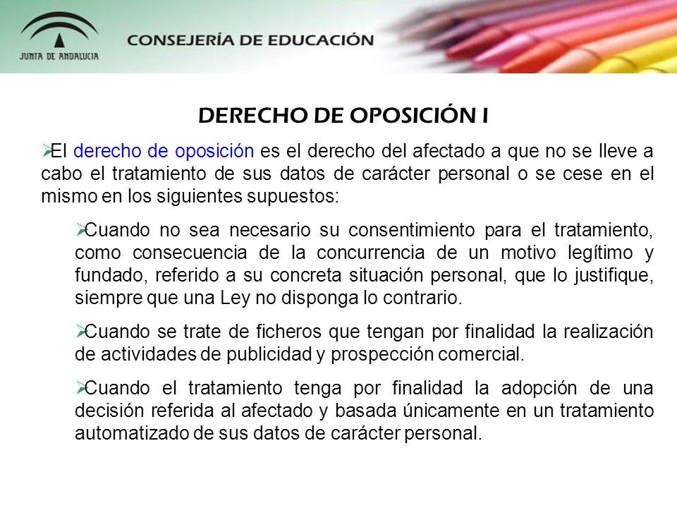 DERECHO DE OPOSICIÓN I