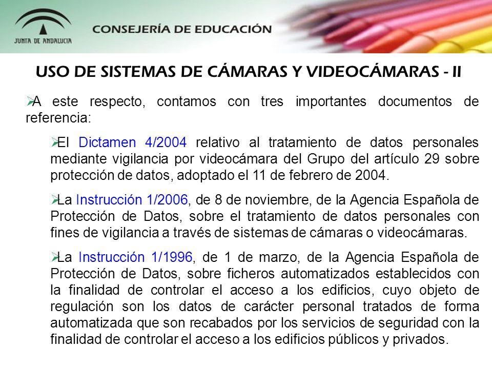 USO DE SISTEMAS DE CÁMARAS Y VIDEOCÁMARAS - II