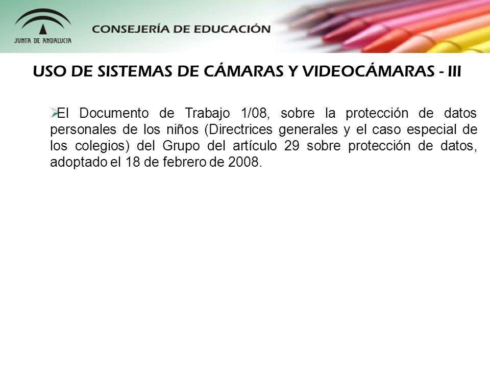 USO DE SISTEMAS DE CÁMARAS Y VIDEOCÁMARAS - III
