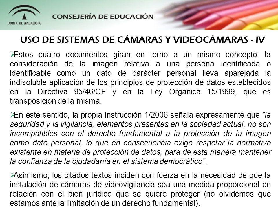 USO DE SISTEMAS DE CÁMARAS Y VIDEOCÁMARAS - IV