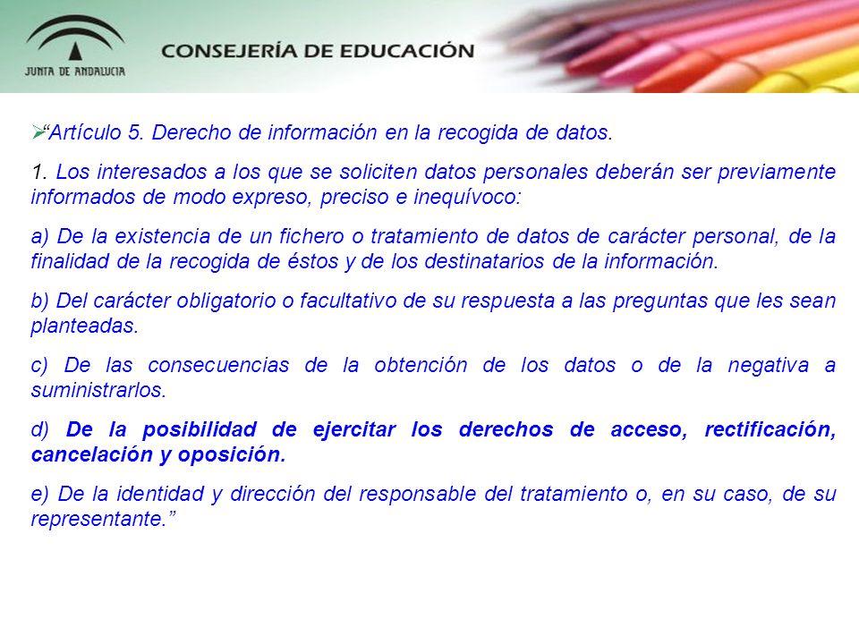 Artículo 5. Derecho de información en la recogida de datos.