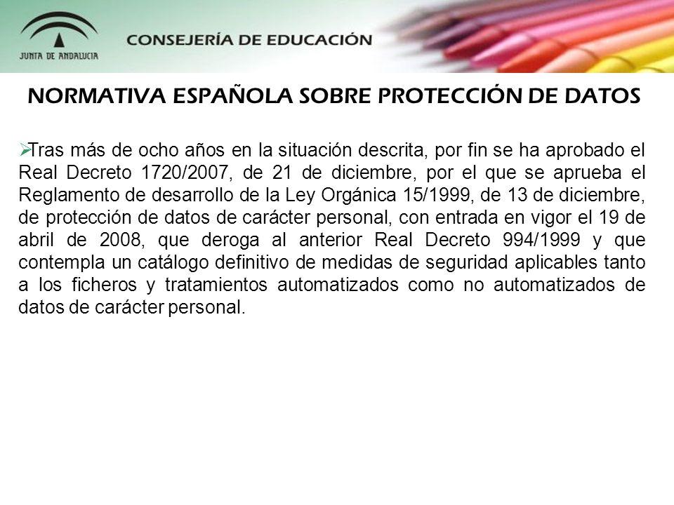 NORMATIVA ESPAÑOLA SOBRE PROTECCIÓN DE DATOS