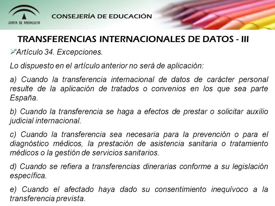 TRANSFERENCIAS INTERNACIONALES DE DATOS - III