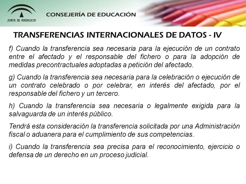 TRANSFERENCIAS INTERNACIONALES DE DATOS - IV
