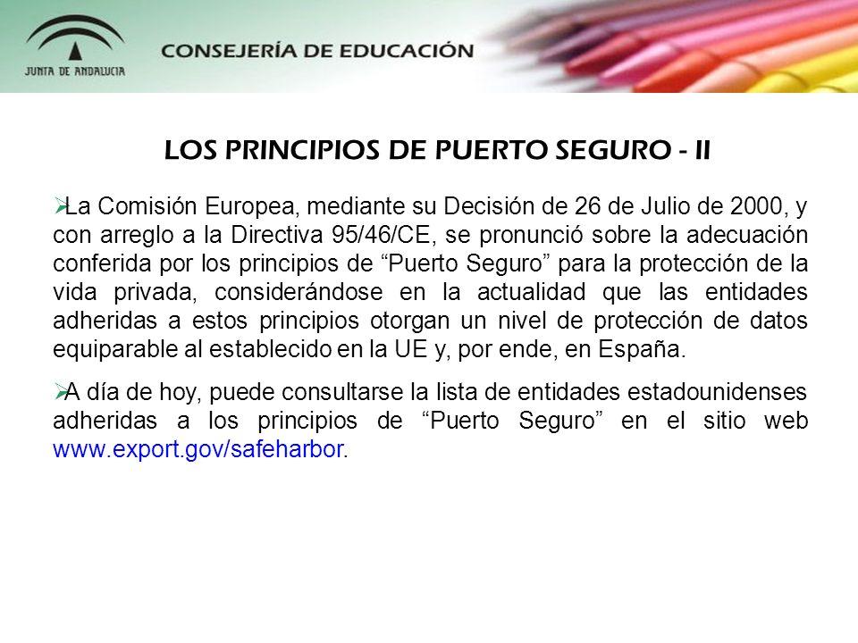 LOS PRINCIPIOS DE PUERTO SEGURO - II