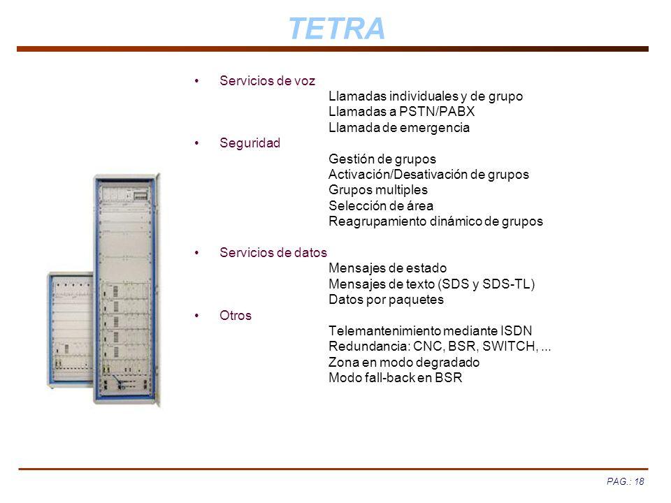 TETRA Servicios de voz Llamadas individuales y de grupo