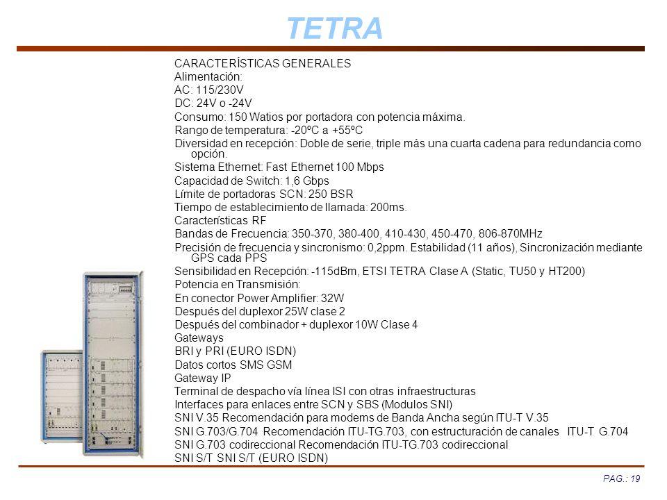 TETRA CARACTERÍSTICAS GENERALES Alimentación: AC: 115/230V