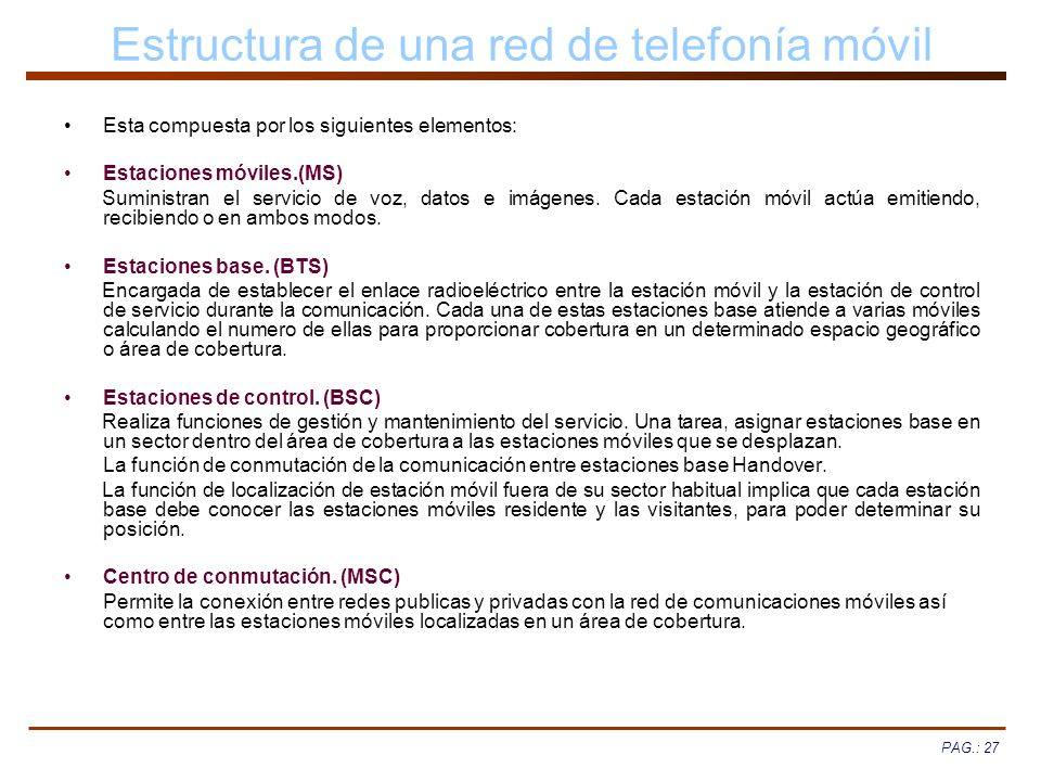 Estructura de una red de telefonía móvil