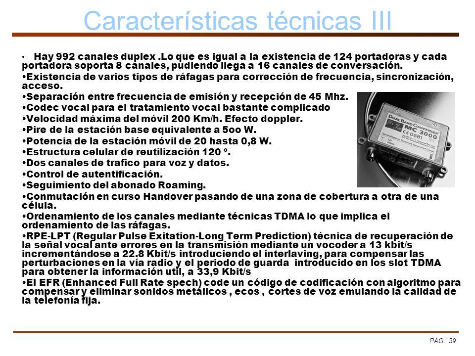 Características técnicas III